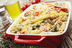 Casserole pasta with chicken and broccoli Royalty Free Stock Images