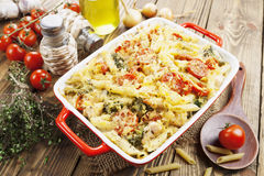 Casserole pasta with chicken and broccoli Stock Image