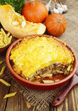 Casserole with pasta, minced meat and pumpkin Royalty Free Stock Image