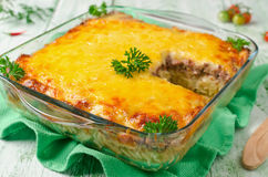 Casserole with pasta and minced meat Stock Photo