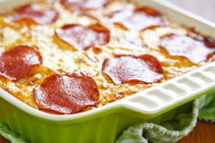 Casserole with pepperoni Stock Photo
