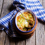 Casserole with potatoes and mushrooms Royalty Free Stock Images
