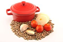 Casserole with raw lentils Royalty Free Stock Photography