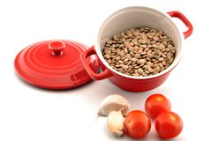 Casserole with raw lentils Royalty Free Stock Image