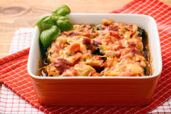 Casserole with roasted eggplants stuffed with minced meat. Royalty Free Stock Photography