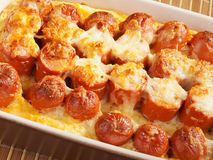 Casserole with sausage and mozzarella Stock Photo