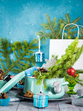 Casserole with spruce branches and christmas decorations Stock Photography