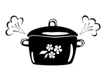Casserole with steam. Vector black and white image. Royalty Free Stock Image