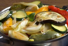 Casserole vegetables. Frying fresh vegetables for casserole Stock Photography