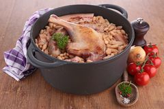 Casserole with white bean and meats Stock Image
