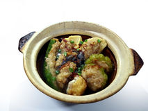 Casserole yong tau foo. Traditional Haka versions of yong tau foo consists of tofu cubes stuffed and heaped with minced meat Stock Photo