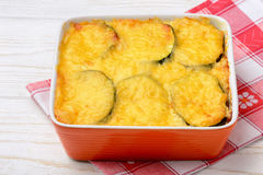 Casserole with zucchini, chicken and cheese. Stock Photo