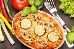 Casserole with zucchini and mushrooms Royalty Free Stock Photo
