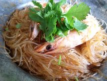 Casseroled shrimps glass noodle. Close up. Royalty Free Stock Photography