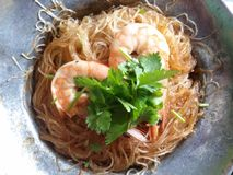 Casseroled shrimps glass noodle Stock Photography