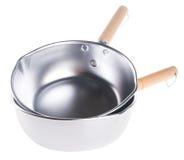 Casseroles. casseroles en aluminium sur le fond. Image libre de droits