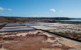 Casseroles de sel de Janubio Photos libres de droits