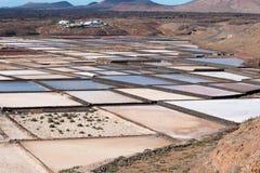 Casseroles de sel de Janubio Photographie stock libre de droits