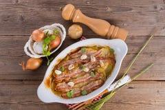 Casseruola della patata del bacon fotografia stock