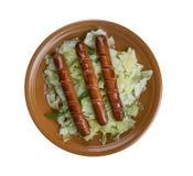 Casseruola della patata del cavolo della salsiccia Immagine Stock Libera da Diritti