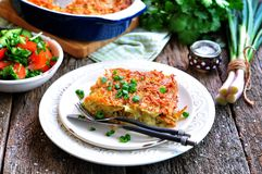 Casseruola della patata-Kugel Cucina ebrea Fotografia Stock