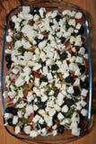 Casseruola delle olive del pomodoro Fotografia Stock