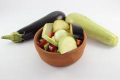 Casseruola di verdure ed un melanzana e zucchini Fotografia Stock