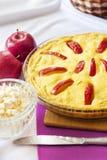 Casseruola dolce della ricotta con le mele e le uova ruspanti immagini stock libere da diritti
