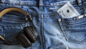 Cassete áudio e fones de ouvido Imagem de Stock Royalty Free