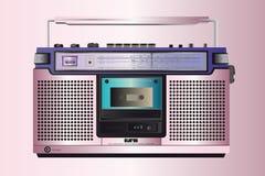 Cassete de banda magnética cor-de-rosa do ghettoblaster do vintage Fotos de Stock