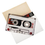 Cassete de banda magnética isolada no fundo branco Foto de Stock Royalty Free
