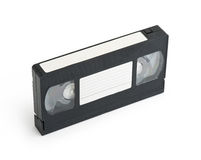 Cassete de banda magnética video velha de VHS com etiqueta vazia Fotografia de Stock Royalty Free