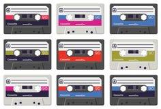 Cassetes de banda magnética coloridas do vetor Fotografia de Stock Royalty Free