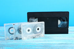 Cassetes de banda magnética do vídeo e de música Imagem de Stock Royalty Free