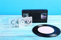 Cassetes de banda magnética do vídeo e de música Foto de Stock