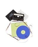 Cassetes de banda magnética e CD do compact disc Fotos de Stock Royalty Free