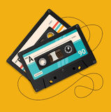 Cassetta audio d'annata tagliata vettore illustrazione vettoriale