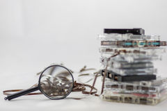 Cassetta, cercante i vecchi pezzi dal 70& x27; s Fotografia Stock