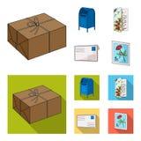 Cassetta delle lettere, carta di congratulazioni, francobollo, busta Icone stabilite della raccolta del postino e della posta nel Immagini Stock Libere da Diritti