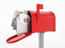 Cassetta delle lettere con i enveloppes Fotografia Stock