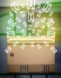 Cassetta delle lettere con le icone della lettera su fondo verde d'ardore Immagine Stock