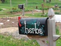 Cassetta delle lettere dell'erba al centro di agricoltura Fotografia Stock