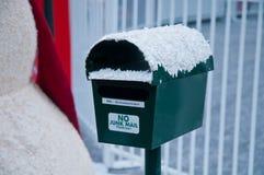 Cassetta delle lettere di Santa Snowman Fotografia Stock Libera da Diritti