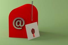 Cassetta delle lettere e lettera rosse Immagine Stock