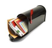 Cassetta delle lettere nera piena Fotografie Stock Libere da Diritti