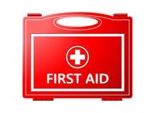 Cassetta di pronto soccorso; Attrezzatura medica Fotografia Stock