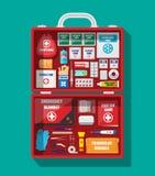 Cassetta di pronto soccorso con attrezzatura medica Fotografia Stock