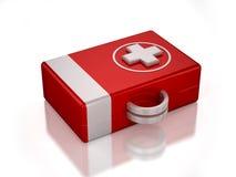cassetta di pronto soccorso di colore rosso 3D Fotografia Stock
