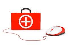 Cassetta di pronto soccorso e topo del computer Fotografie Stock Libere da Diritti