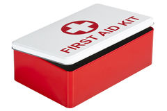 Cassetta di pronto soccorso isolata su fondo bianco Fotografia Stock Libera da Diritti